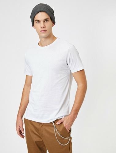 Koton Kisa Kollu Yuvarlak Yaka %100 Pamuk T-Shirt Beyaz